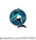 Dolphin jumping in a circle sport logo emblem vector illustration 64554961