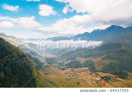 Fansipan mountain and Sapa countryside village in Vietnam 64557393