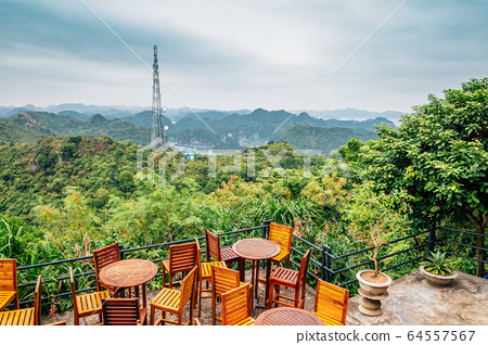 Island and sea from Cannon Fort in Cat Ba island, Vietnam 64557567