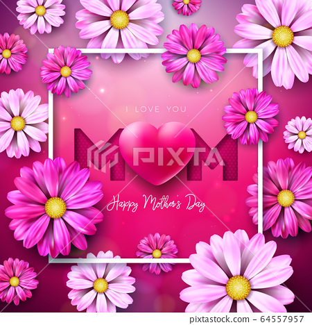I Love You Mom. Happy Mother's Day Greeting Card Design with Flower and Red Heart on Pink Background. Vector Celebration Illustration Template for Banner, Flyer, Invitation, Brochure, Poster. 64557957