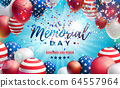 Memorial Day of the USA Vector Design Template with American Flag Air Balloon and Falling Confetti on Shiny Blue Background. National Patriotic Celebration Illustration for Banner or Greeting Card 64557964