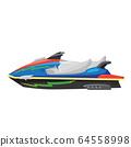 Modern Jet Ski Icon Isolated on White Background. Water Transportation. Flat Design 64558998