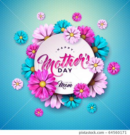 Happy Mother's Day Greeting Card Design with Flower and Typography Letter on Blue Background. Vector Celebration Illustration Template for Banner, Flyer, Invitation, Brochure, Poster. 64560171