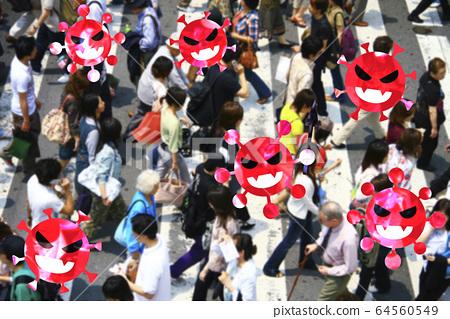 [Stay Home! 집에 있자!] 신형 코로나 바이러스가 거리에 만연하고있는 이미지. 외출 자제 요청. 64560549