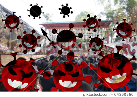 [Stay Home! 집에 있자!] 신형 코로나 바이러스가 거리에 만연하고있는 이미지. 외출 자제 요청. 64560560
