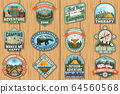 Outdoor adventure patch with quotes. Vector. Concept for shirt, logo, print, stamp or tee. Vintage typography design with hiking boots, elk, bear, tent, forest and mountain landscape silhouette 64560568
