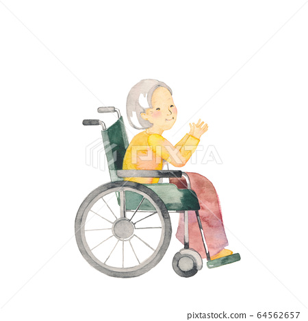 輪椅上的祖母,側面,材料 64562657