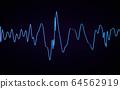 abstract blue sound wave digital background visualization light on dark background 3d render illlustration 64562919
