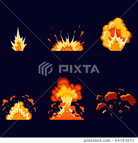 Bomb explosion and fire explosion cartoon set. 64563655