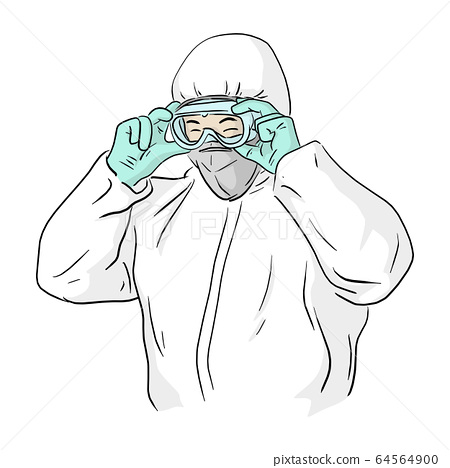 man in ppe suit wearing protective glasses  64564900