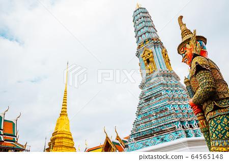 Wat Phra Kaew, Grand Palace historic architecture in Bangkok, Thailand 64565148