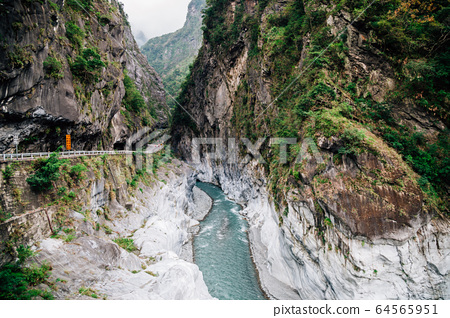 River and mountain in Taroko National Park, Taiwan 64565951