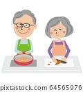 팝 노인 2 명 사이 좋게 요리를 64565976