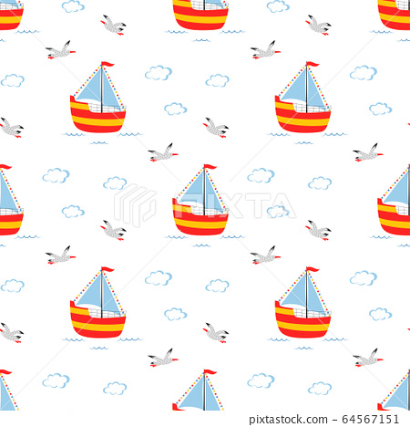 seamless pattern of cute sailboat isolated, vector 64567151