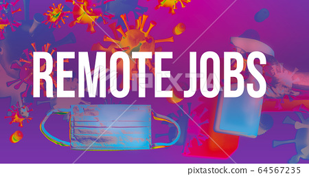 Remote Jobs theme with face mask and spray bottle 64567235