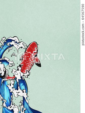 잉어의 폭포 등반 - 비단 잉어 - 물보라 - 물 - 생동감 64567590