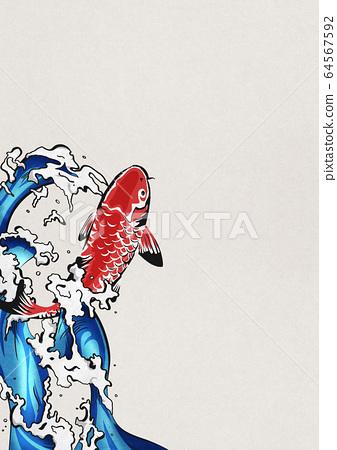잉어의 폭포 등반 - 비단 잉어 - 물보라 - 물 - 생동감 64567592