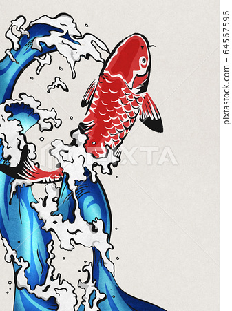 잉어의 폭포 등반 - 비단 잉어 - 물보라 - 물 - 생동감 64567596