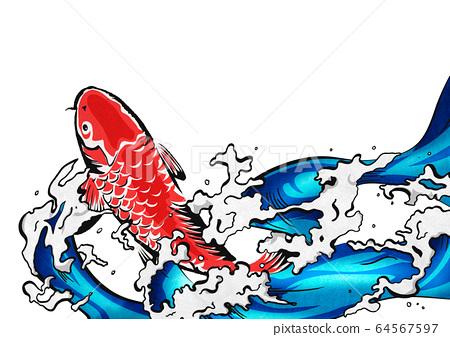 잉어의 폭포 등반 - 비단 잉어 - 물보라 - 물 - 생동감 -png 64567597