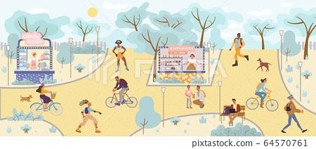 People perform leisure activity in park fairground 64570761