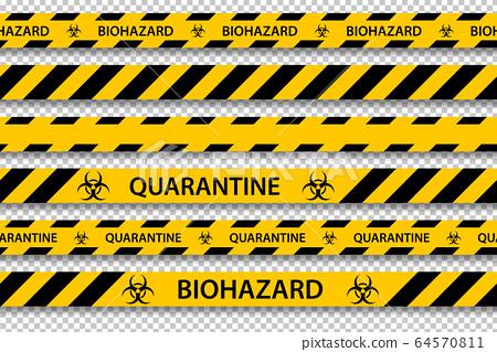 Vector biohazard danger yellow black seamless tape 64570811