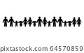 Pictograms of people holding hands, standing in a row. Abstract symbols of connected men, women and children expressing friendship, love and harmony. We are one world. Illustration over white. Vector. 64570859