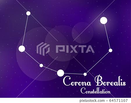 Corona Borealis Constellation Starry Night Sky Stock Illustration 64571107 Pixta