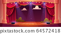 Vector cartoon theater stage with red curtains 64572418