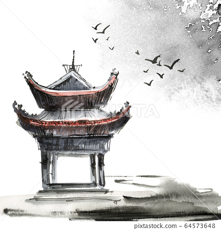 Watercolor painted chinese landscape 64573648