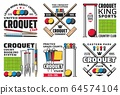 Croquet sport game ball, mallet and hoop icons 64574104