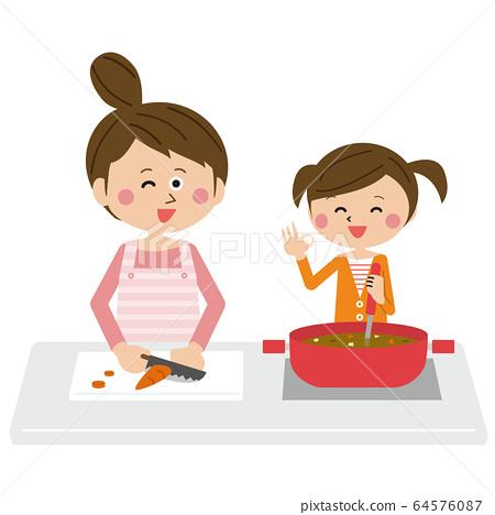 팝 부모 엄마와 딸 함께 요리 64576087
