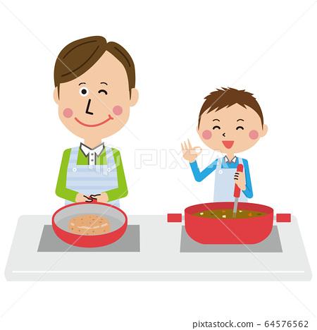 팝 부자 아빠와 아들 함께 요리 64576562