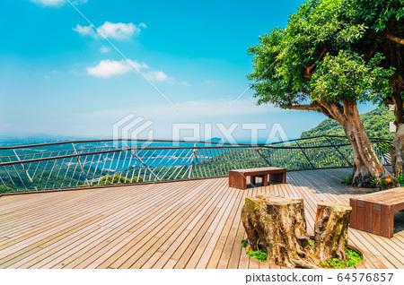 Blue ocean and mountain in Jiufen, Taiwan 64576857