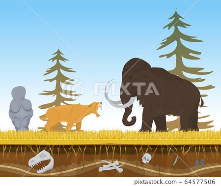 Prehistoric tiger attack ancient mammoth, character animal bite flat vector illustration. Wildlife nature beast predator and herbivorous. 64577506