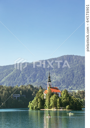 Lake Bled, pilgrimage church of the assumption of maria in Slovenia 64578901