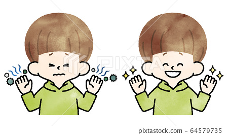 男孩骯髒的手清潔手水彩 64579735