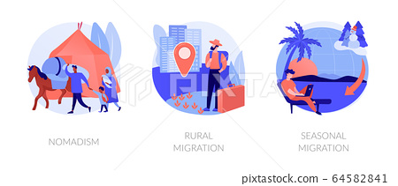 Temporary migration abstract concept vector illustrations. 64582841