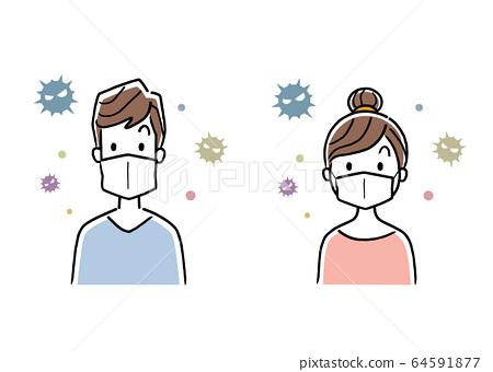 일러스트 소재 : 마스크를 착용하는 남성과 여성 64591877