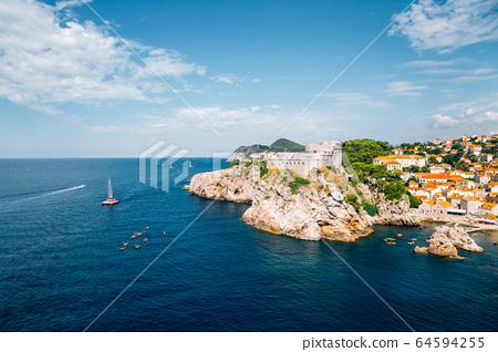 Lovrijenac St. Lawrence Fortress with adriatic sea in Dubrovnik, Croatia 64594255