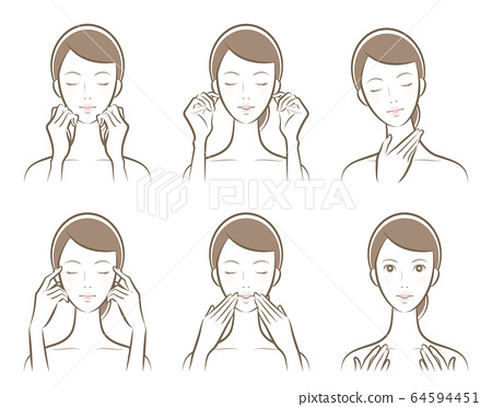 피부 관리를하고있는 여성의 일러스트 64594451