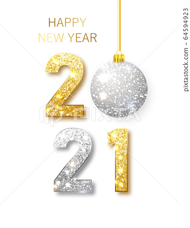 2021 Happy new year. Happy New Year Banner with gold metallic numbers date 2021 64594923