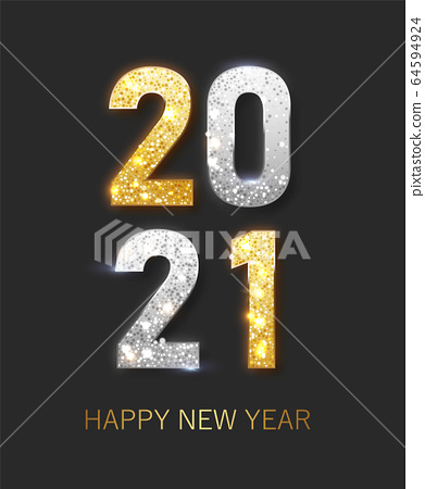2021 Happy new year. Happy New Year Banner with gold metallic numbers date 2021 64594924
