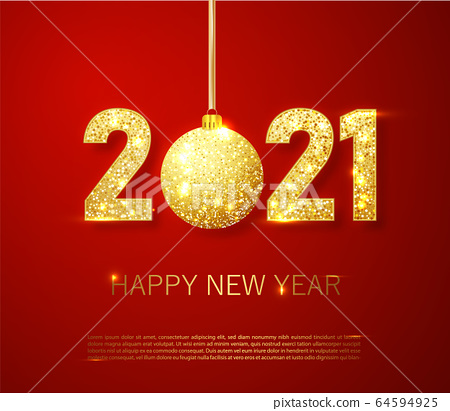 Realistic 2021 golden numbers and festive try toy on red background. Vector holiday illustration. Happy New 2021 Year. New year ornament. Decoration element with tinsel 64594925