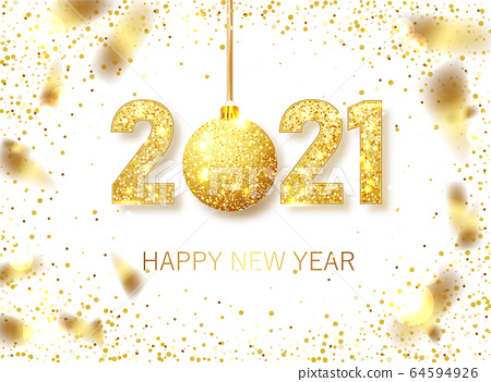 Happy New 2021 Year. Holiday vector illustration of golden metallic numbers 2021. Realistic gold vector sign. Festive poster or banner design 64594926