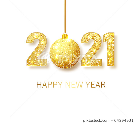 Happy New 2021 Year. Holiday vector illustration of golden metallic numbers 2021. Realistic gold vector sign. Festive poster or banner design 64594931