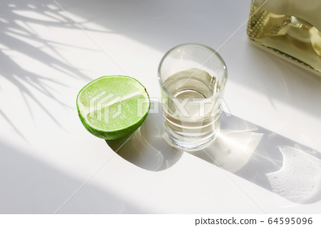 tequila and lime in sunny Day. drinks still life 64595096