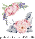 Watercolor Flowers Clipart, Floral Wedding Invitation 64596604