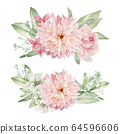 Watercolor Flowers Clipart, Floral Wedding Invitation 64596606