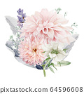 Watercolor Flowers Clipart, Floral Wedding Invitation 64596608