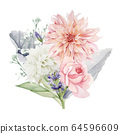 Watercolor Flowers Clipart, Floral Wedding Invitation 64596609